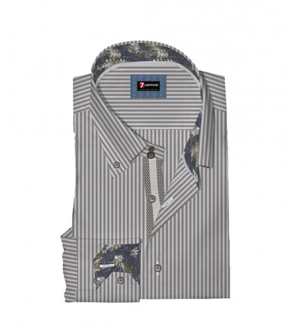 Camicia Roma Oxford BIANCO E MARRONE