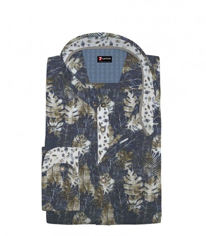 Shirt Men printed Blue and Brown