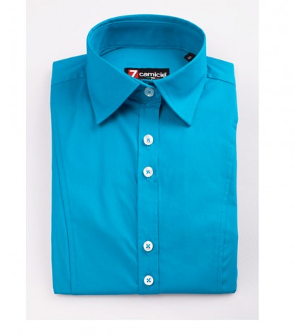 Light Blue Stretch Cotton Woman Shirt