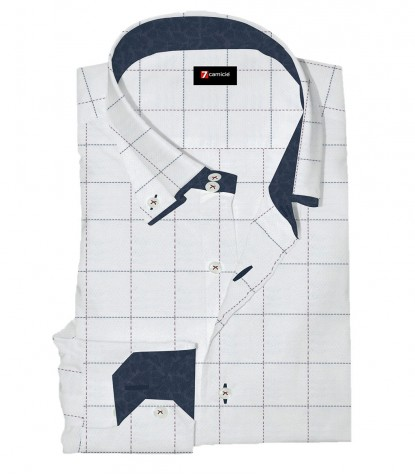Shirt Marco Polo Weaved White and Burgundy