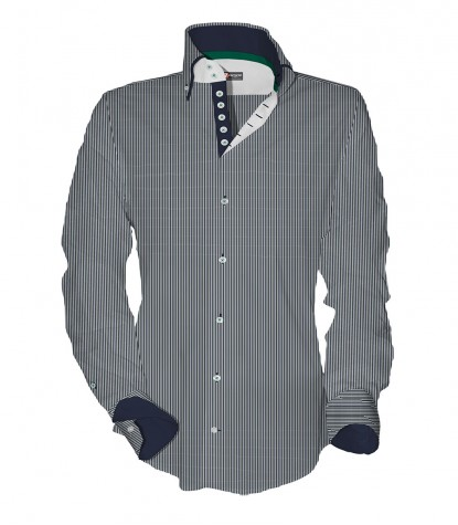Shirt Marco Polo Cotton Polyester Middle Shade GreyWhite