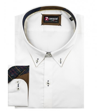 Leonardo Satin White shirt with patches
