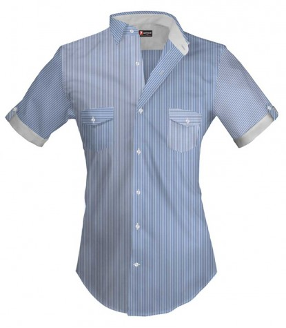 Men's short-sleeved striped shirt