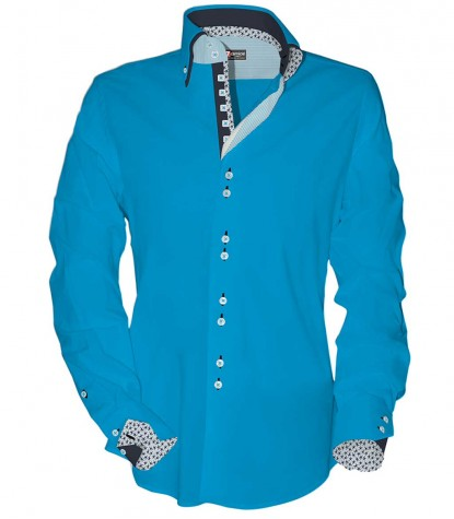 Shirt Marco Polo stretch poplin Turquoise
