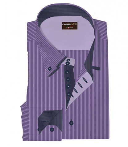 Shirt Marco Polo Cotton Polyester VioletWhite