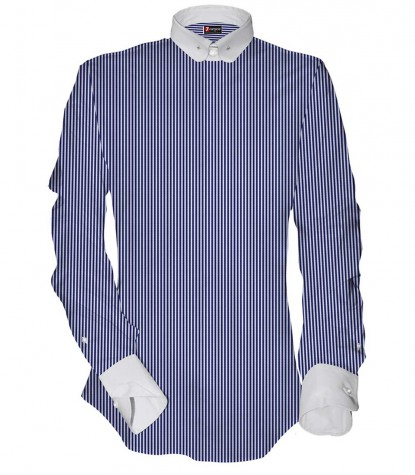 Shirt Pantheon Satin White and Blue