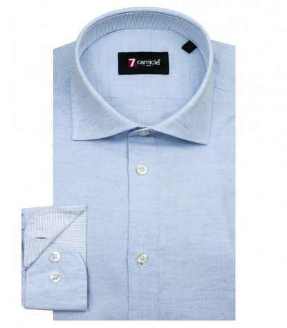 Shirt Men 1 Button textured Light Blue