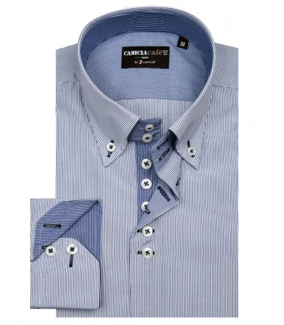 Shirt Roma Cotton Polyester WhiteBlue