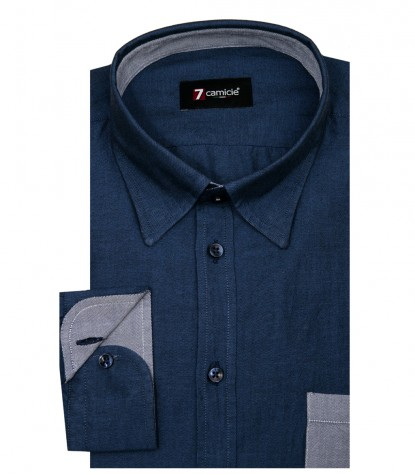 Chemises Leonardo Oxford avion bleu