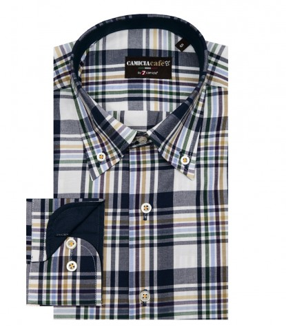 CAMICIA UOMO 1 BOTTONE BUTTON-DOWN SLIM QUADRO GRANDE