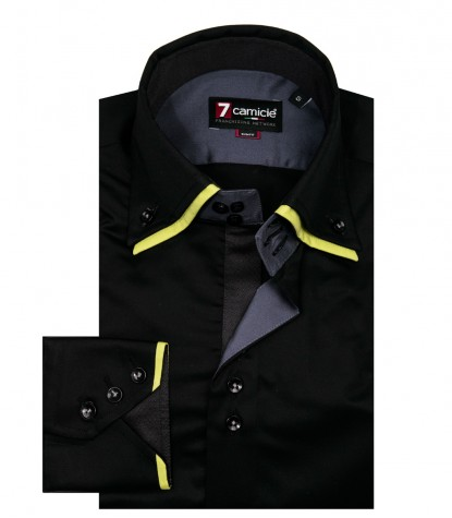 3 Button Button Down Double Collar Slim Man Shirt Solid Black Satin