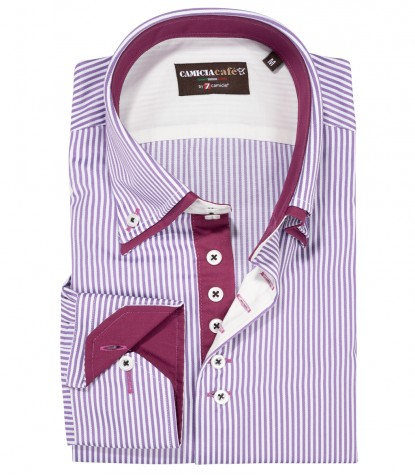 Shirt Marco Polo Cotton Polyester WhiteViolet