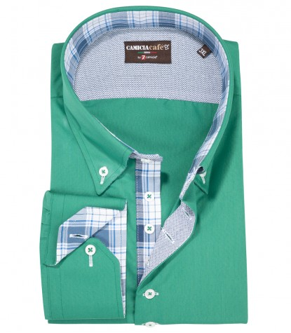 Shirt Roma Cotton Polyester Water Green