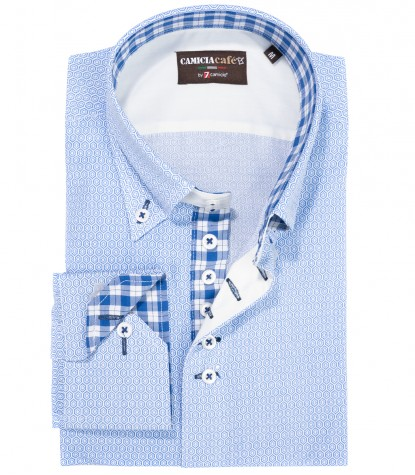 Shirt Roma Cotton Polyester White Light Blue