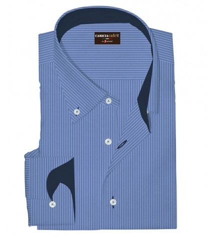 Shirt Leonardo Cotton Polyester Light Blue White