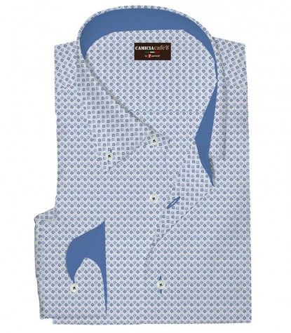 Shirt Leonardo Cotton Polyester White Light Blue