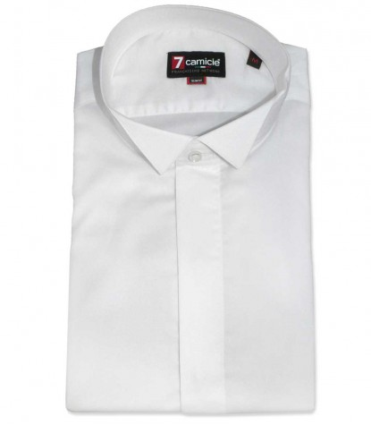 CAMICIA UOMO 1 BOTTONE SMOKING SLIM SATIN UNITO BIANCO