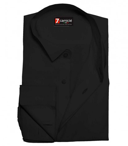1 button satin black tuxedo shirt for men