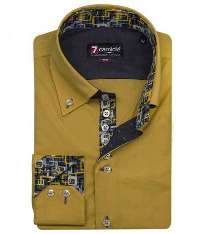 Shirt Roma stretch poplin Ocher Yellow
