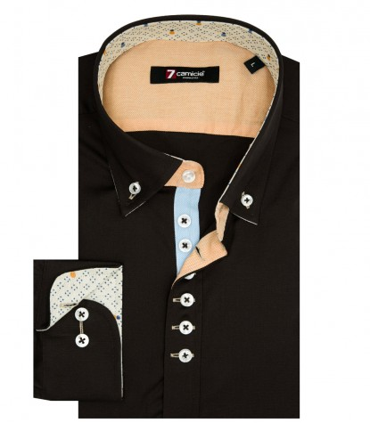 Shirt Donatello stretch poplin Brown