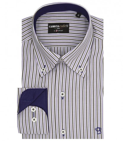 Men shirt button down with narrow stripes