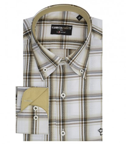 Camicia Uomo Button Down Quadro Grande