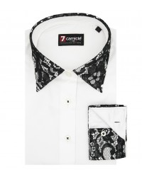 Shirt Linda Satin White Black