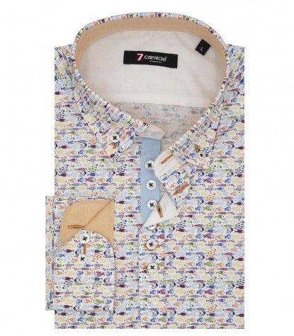 Shirt Donatello Poplin White and Turquoise