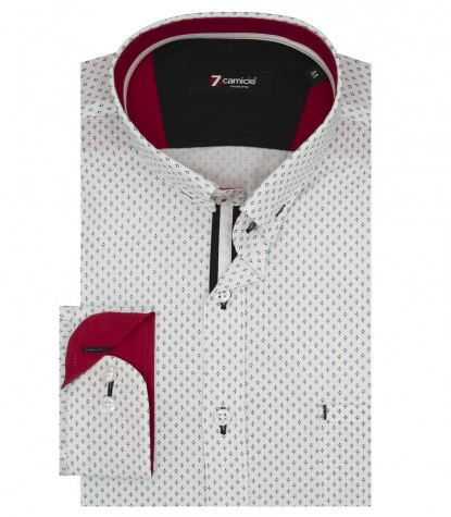 Shirt Romeo Poplin White Black