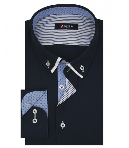 Shirt Leonardo stretch poplin Blue