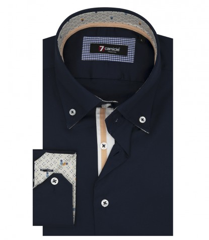 Shirt Roma Satin Dark Blue