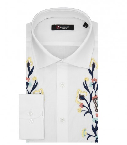 Chemise Homme Manches Longues Avec Broderie Popeline Stretch Blanc