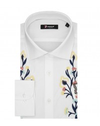 Man Shirt Popeline Stretch Long sleeve Embroidery White