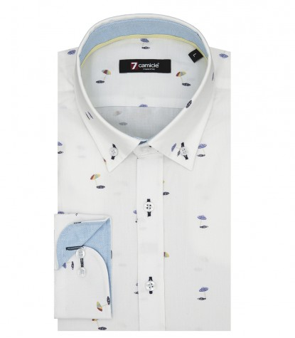 Shirt Leonardo jacquard White and Blue