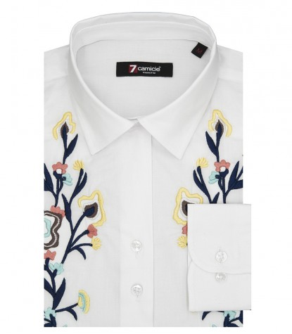 1 Button French Shirt with White Stretch Poplin Embroidery