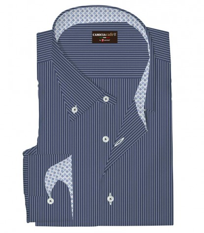 Shirt Leonardo Cotton Polyester BlueWhite
