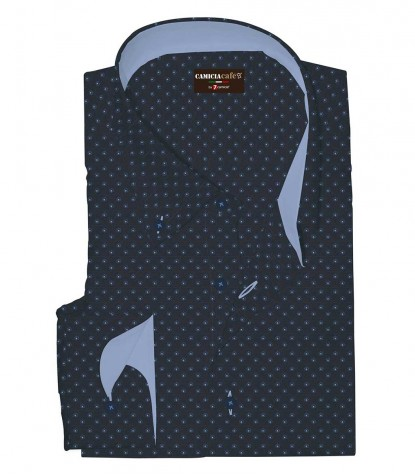 Shirt Leonardo Cotton Polyester Dark Blue Avion