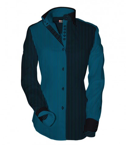 Camicia Silvia Satin Blue Seaport Nero