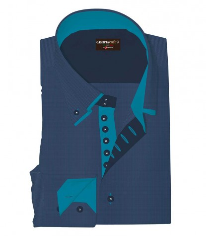 Shirt Marco Polo Cotton Polyester Blue-Seaport Blue