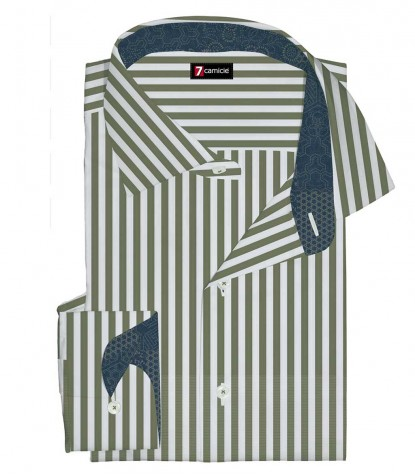 Shirt Firenze Cotton White and Military Green