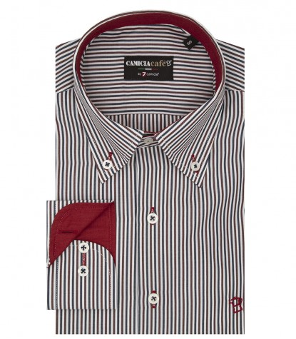 Camicia Uomo, 1 bottone, button down,Riga Stretta