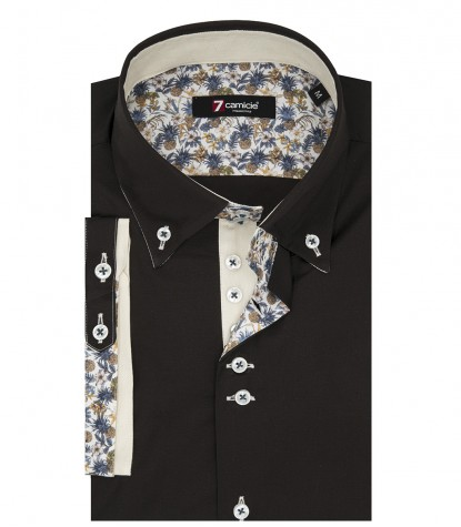 Camicia Roma Popeline stretch Marrone
