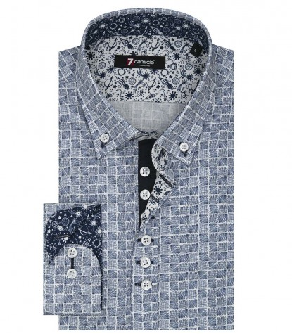 Shirt Donatello Poplin BlueWhite