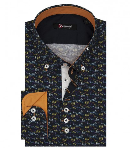 Shirt Donatello Poplin Blue Yellow