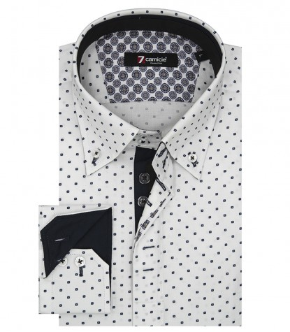Shirt Roma Oxford White and Blue