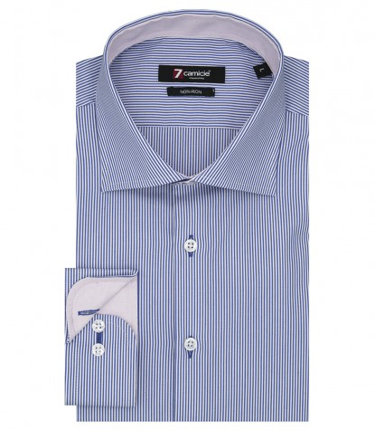 Shirt Men stripe line BlueWhite