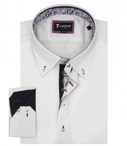 Camicia Uomo Roma 2 Bottoni Botton Down Popeline Stretch