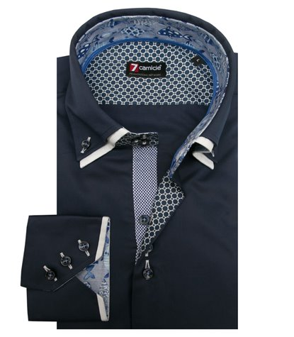 Camisa Hombre 3 Boton Button Down Doble Cuello Slim Satin liso Blu