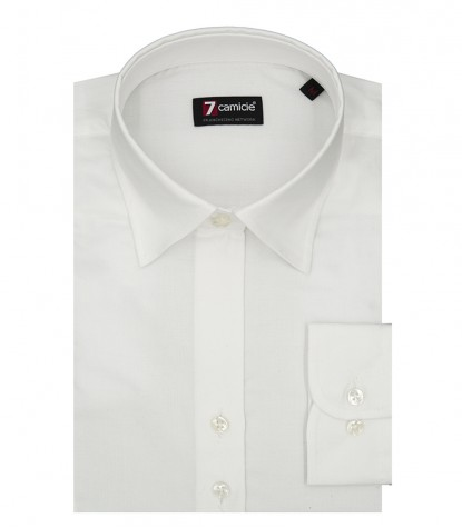 Chemise femme 2 boutons col italien slim Oxford uni blanc