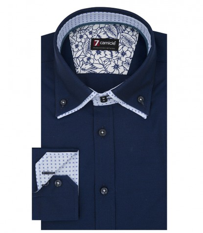 Camicia Uomo 2 Bottoni Button Down Doppio Collo Slim Oxford unito Blu